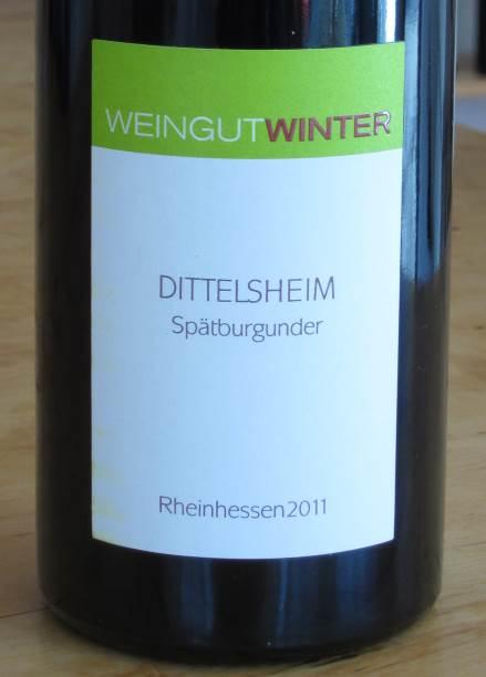 dittelsheim spätburgunder, weingut winter 2011